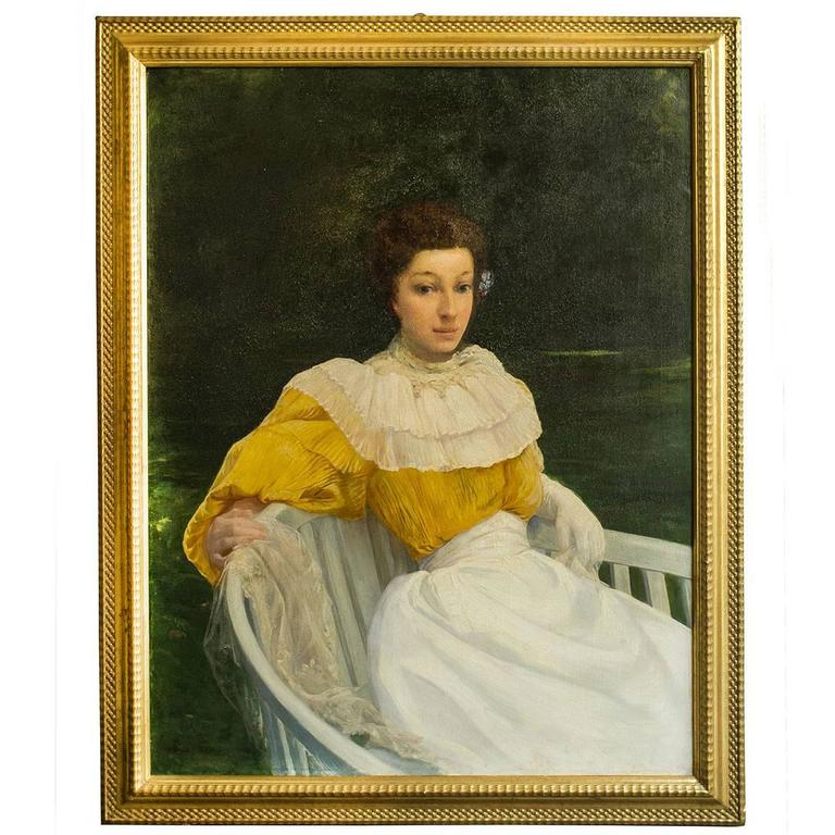 "Ernest Bisson Romantic Painting ""Lady in Yellow dress"" oil on canvas"
