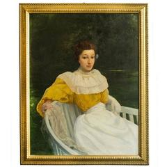 """Old  Painting """"Lady in yellow dress"""""""