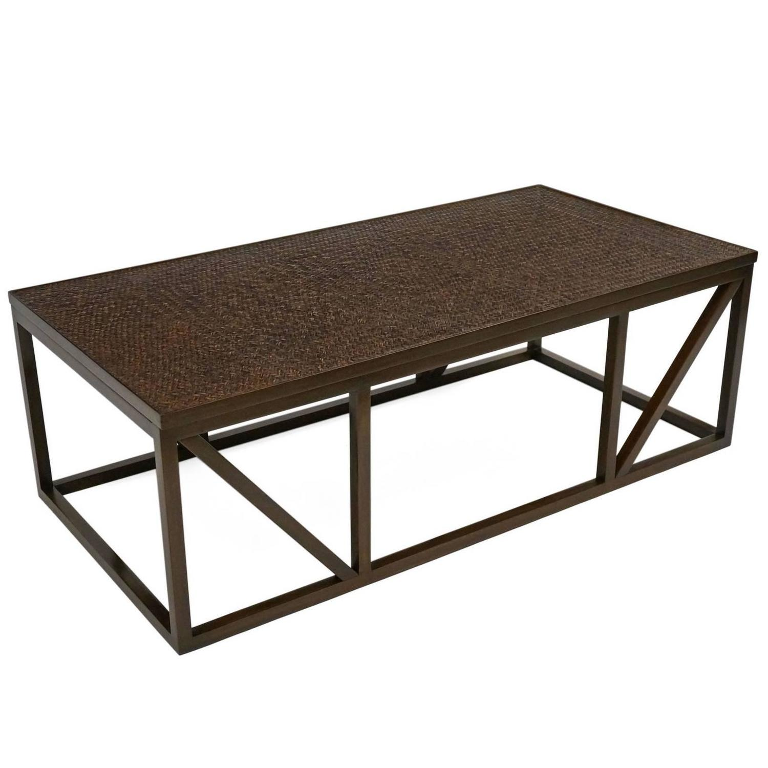 Charles Modern 47 Square Glass Top Coffee Table W: Rectangular Wood Coffee Table With Woven Rattan Top