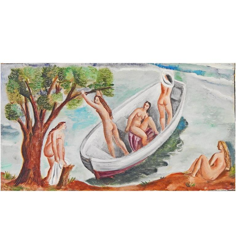 """Bathers at the Shore,"" Delightful Art Deco Painting with Female Nudes"