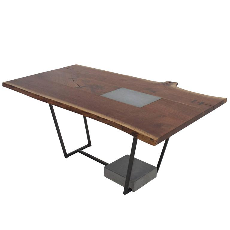"""SCW"" Dining Table, Live Edge Walnut, Blackened Steel, Cast Concrete, Ebony Keys"