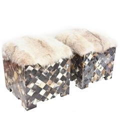 Pair of Diamond Patterned Horn and Fur Topped Benches or Ottomans