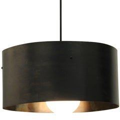 "Fully Adjustable ""PULLEY LIGHT"" with Hand Bent Patinated Steel Shade and Dimmer"