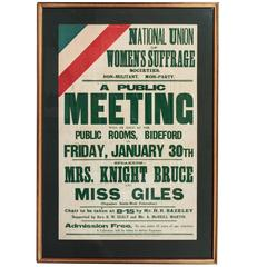 Early 1900s Suffragette Poster, Medal, Song Book and Related Material
