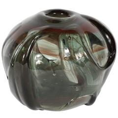 Mid-Century Modernist Handblown Smoked Tourmaline / Cinnabar Murano Glass Vase