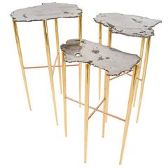 Meteorite Cocktail Tables in Solid Brass or Copper by Christopher Kreiling
