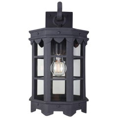 Detailed Spanish Wrought Iron Exterior Arm Mount Lantern, Old World Finish
