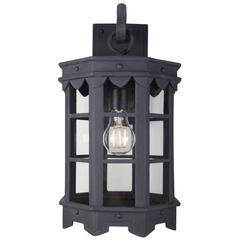 Detailed Spanish Wrought Iron Exterior Arm Mount Lantern with Premium Finish