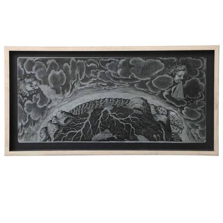Italian Surrealist Zinc Lithograph Plate For Sale