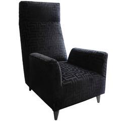 Flair Home Collection Custom Torino Chair in Geometric Black Velvet