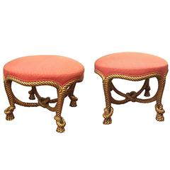 Pair of Second Empire Gilt and Upholstered Rope Twist Stools