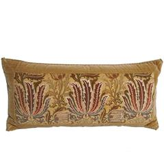 Handmade Yellow Velvet Pillow with 19th Century Silk Embroidered Panel