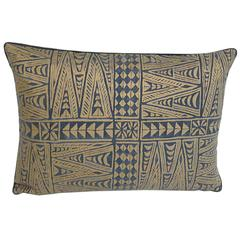 Set of Three Handmade Pillows with an Indigo and Gold Pattern