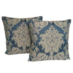 Pair of Handmade Blue Damask Pillows with a Floral Pattern