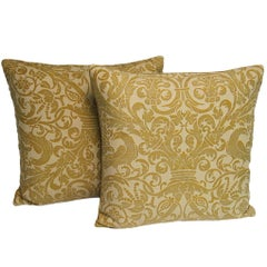 Pair of Handmade Yellow Cotton and Velvet Pillows with a Rope Trim