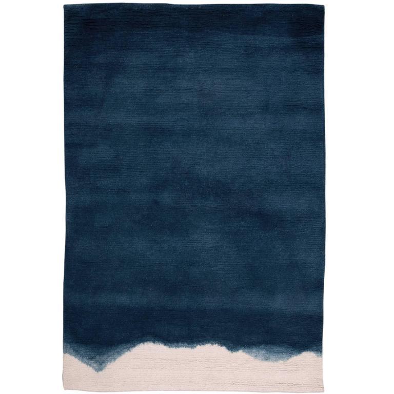 natural ombre dip-dyed indigo wool small rug at 1stdibs