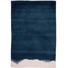 Natural Ombre Dip-Dyed Indigo Wool Small Rug