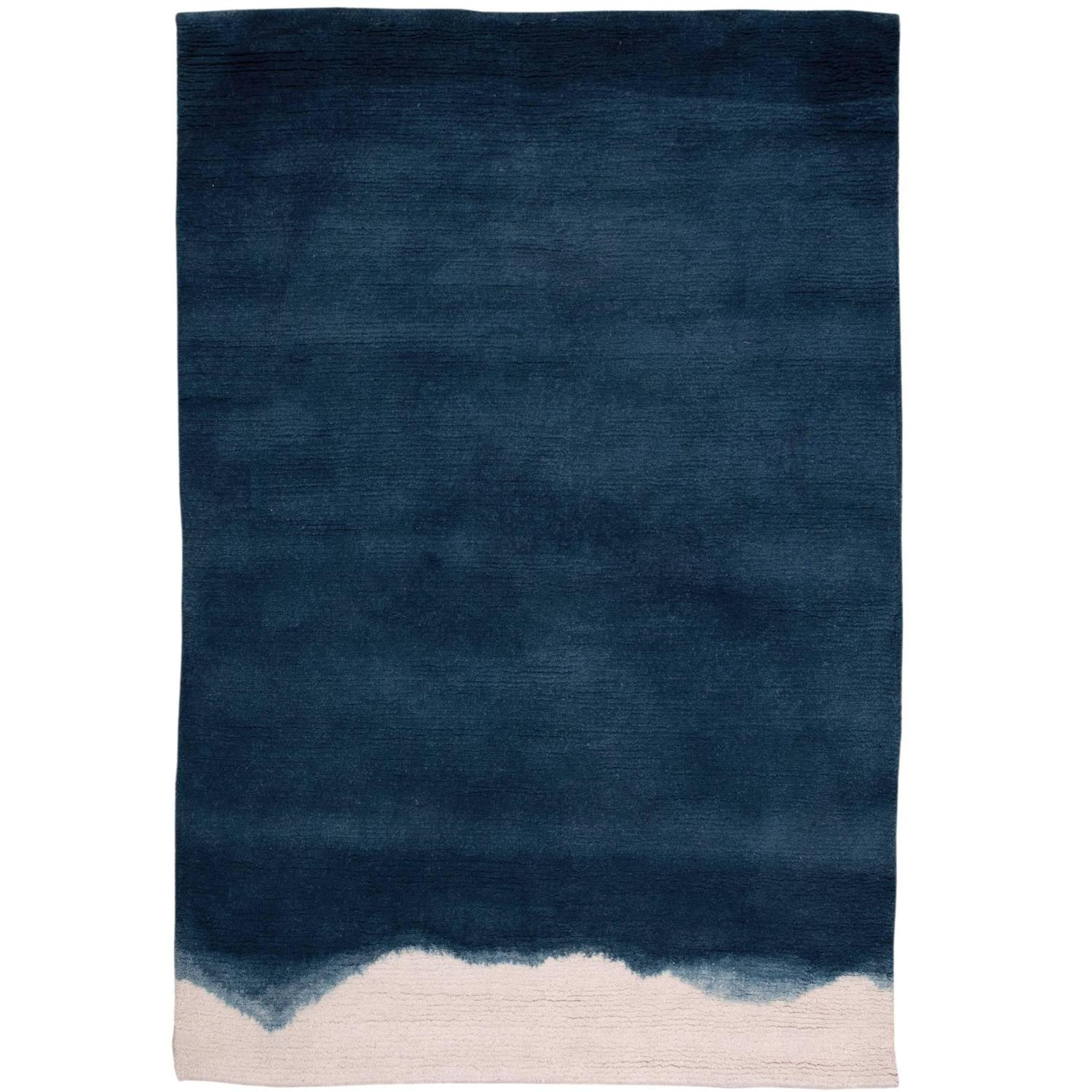 Natural Ombre Dip Dyed Indigo Wool Small Rug For Sale At
