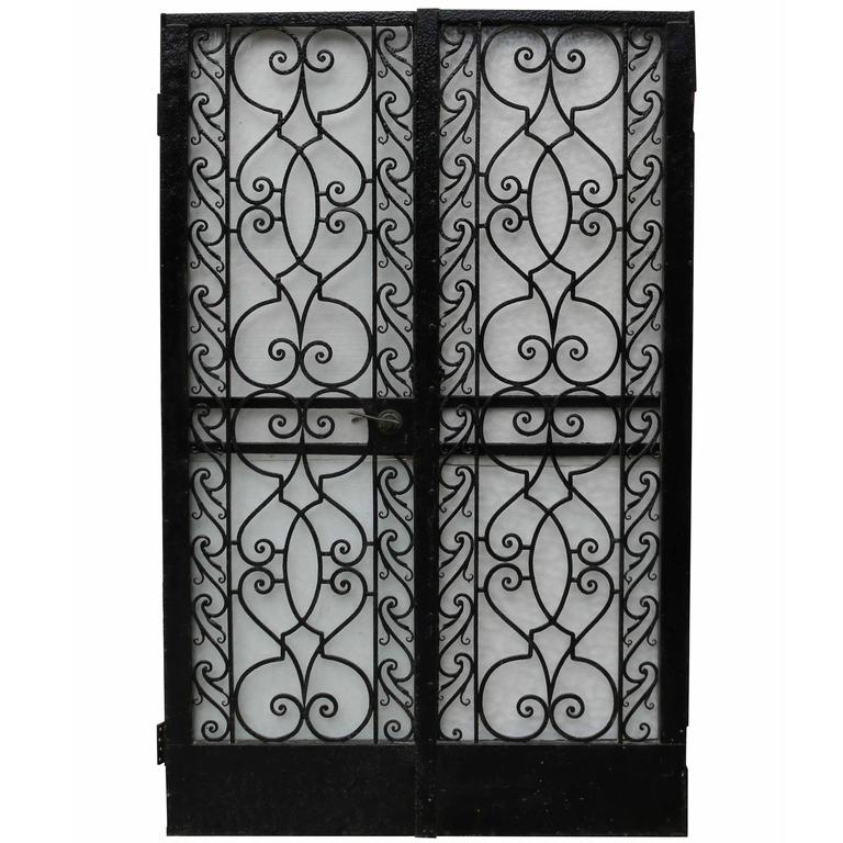 Pair of 1920s Wrought Iron Pedestrian Gates For Sale