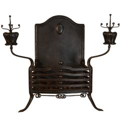Art Nouveau Period Wrought Iron Fire Grate
