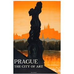 Original 1930s Czechoslovakia Travel Advertising Poster, Prague the City of Art