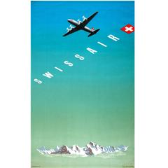 Original Vintage Travel Advertising Poster by Eidenbenz for Swissair Switzerland