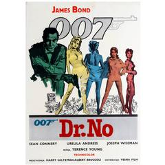 Original Vintage James Bond Movie Poster for Dr No Starring Sean Connery as 007