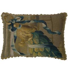 17th Century Antique Brussels Tapestry Pillow, 1400P.