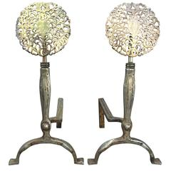 Pair of 19th-20th Century Steel and Brass Medallion Andirons