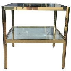 Midcentury Two-Tier Brass and Glass Table