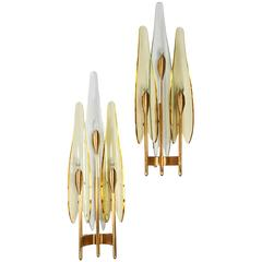 Stunning Pair of Dahlia Sconces by Fontana Arte