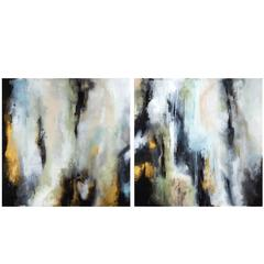 """""""In the Mist"""" Abstract Paintings Diptych by Katherine Houston"""