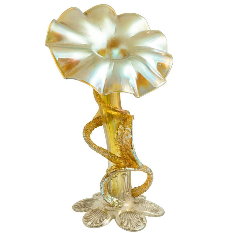 Loetz Jack In The Pulpit Vase Circa 1910 With Paper Pattern From