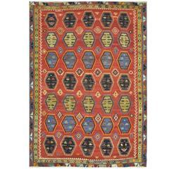 Vintage Tribal Design Kilim Rug