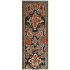 Antique Hand knotted Wool Long Caucasian Runner Rug