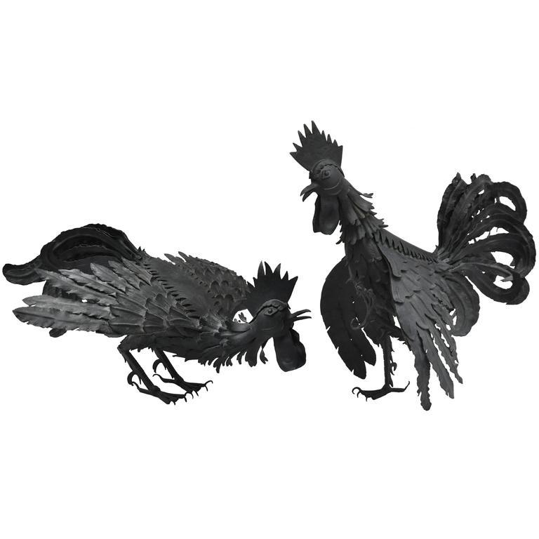 Pair of Handmade Midcentury Roosters