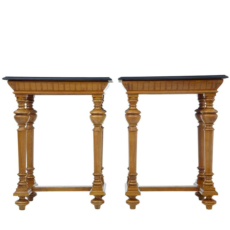 Pair of Victorian Oak and Mahogany Side Tables