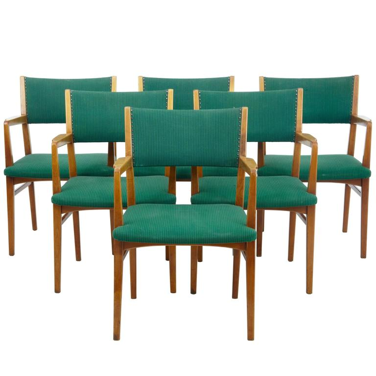 Set of Six Scandinavian Modern 1960s Armchairs For Sale