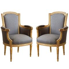 Pair of 19th Century French Chairs with Original Gilded Frame