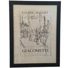 Vintage Galerie Maeght Giacommetti Poster in Custom Black Frame