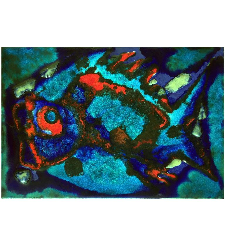 Large Ceramic Art Tile, Fish in Ocean Blue Turquoise Red Glaze, Germany, 1950s