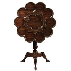 Manx Rosewood Tilt-Top Table with Carved Recesses and Brass Inlay, circa 1890