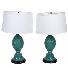Pair of Contemporary Turquoise Pineapple Lamps
