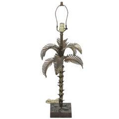 Maison Jansen Metal Palm Tree Table Lamp