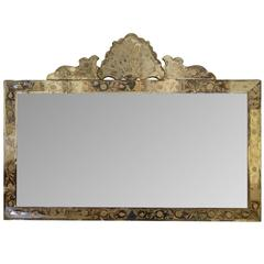 Triple Plate and Engraved Border Italian Glass Overmantel Mirror