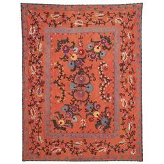 19th Century Antique Uzbek Shakhrisabz Nim Suzani