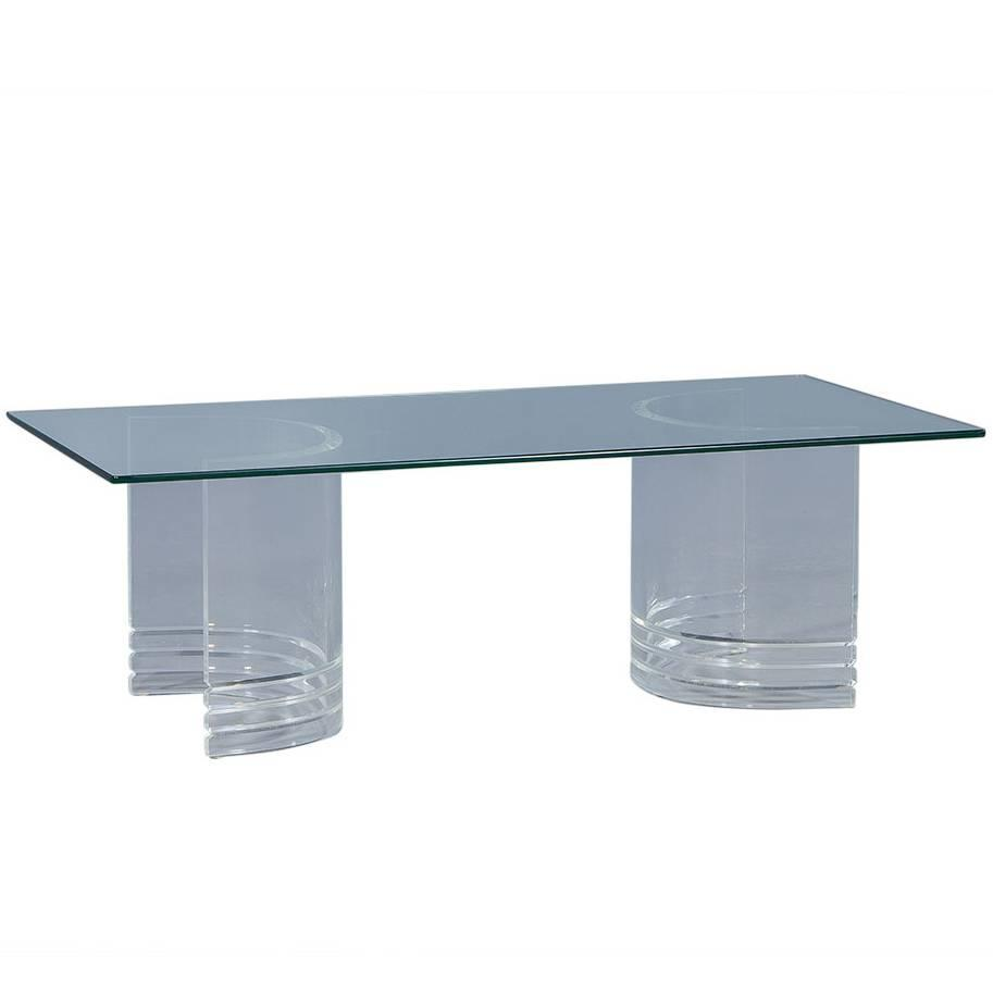 Double Lucite Demilune Pedestal Cocktail Table For Sale At 1stdibs