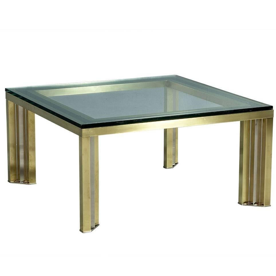 1970s Polished Chrome And Brass Cocktail Table For Sale At