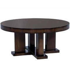 Custom Macassar Ebony Round Modern Cocktail Table