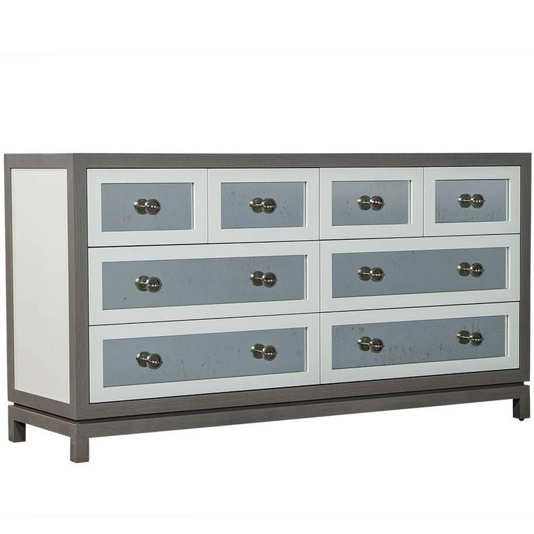 custom grey and white eight drawers antique mirrored